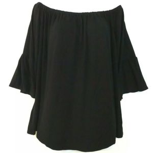 Green Envelope off the shoulder top Black blouse